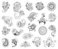 Комплект элемента хны татуировки Стоковые Изображения