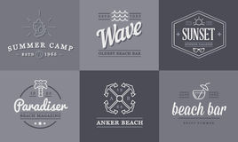 Комплект элементов бара моря пляжа вектора и лето можно использовать как логотип Стоковое фото RF