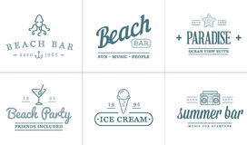 Комплект элементов бара моря пляжа вектора и лето можно использовать как логотип Стоковая Фотография