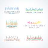 Комплект элементов вектора логотипа волны музыки иллюстрация штока