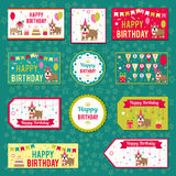Комплект элементов вектора для дизайна дня рождения Ярлыки, стикеры, бирки для подарков, приглашения и поздравления Дети Стоковая Фотография