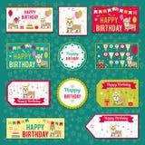 Комплект элементов вектора для дизайна дня рождения Ярлыки, стикеры, бирки для подарков, приглашения и поздравления Дети Стоковое фото RF