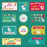 Комплект элементов вектора для дизайна дня рождения Ярлыки, стикеры, бирки для подарков, приглашения и поздравления Дети Стоковые Фото