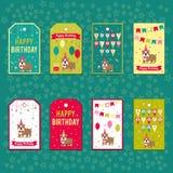 Комплект элементов вектора для дизайна дня рождения Ярлыки, стикеры, бирки для подарков, приглашения и поздравления Дети Стоковое Изображение