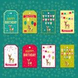 Комплект элементов вектора для дизайна дня рождения Ярлыки, стикеры, бирки для подарков, приглашения и поздравления Дети Стоковые Изображения RF
