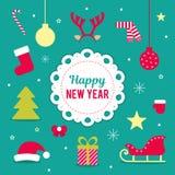 Комплект элементов вектора для украшения рождества и Нового Года Розвальни, рождественская елка, рожки оленей, шарик, звезда, a Стоковые Изображения RF