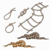 Комплект элементов веревочки, лестница, лассо, узлы, петля Стоковое Изображение
