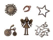Комплект элементов винтажного металла декоративных Стоковое Фото