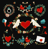 Комплект элементов влюбленности декоративный Стоковые Изображения RF