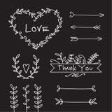 Комплект элементов влюбленности свадьбы декоративный стоковая фотография