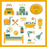 Комплект элементов гостиницы иллюстрация штока