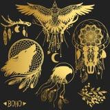 Комплект элементов графического дизайна в богемском стиле Иллюстрация штока