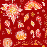 Комплект элементов летнего дня с цветками, радугой и бабочкой Sto Стоковая Фотография