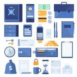 Комплект элементов дела и финансовых элементов процесса: сейф безопасности, телефон, счет, монетки, портфель, калькулятор, Стоковые Фото