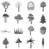 Комплект элементов значков леса, серый monochrome стиль Стоковое Изображение RF
