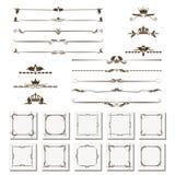 Комплект элементов дизайна, рамок, рассекателей, границ Иллюстрация вектора для дизайна страниц Стоковое Фото