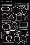 Комплект элементов дизайна Grunge форм мела вектора Стоковые Фотографии RF