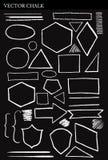 Комплект элементов дизайна Grunge форм мела вектора Стоковые Изображения RF