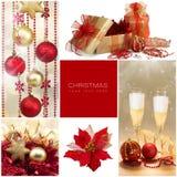 комплект элементов конструкции рождества Подарки зимнего отдыха Золотой и красный коллаж Стоковые Изображения RF