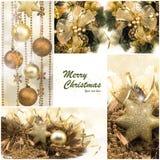 комплект элементов конструкции рождества Подарки зимнего отдыха Праздничный золотой коллаж Стоковое фото RF