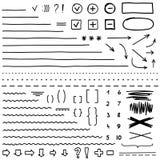 Комплект элементов нарисованных рукой для редактирует и выбирает текст почерните отметку Стоковые Изображения RF