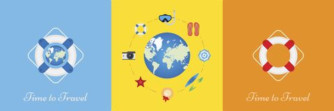 Комплект элементов на теме туризма и воссоздания Элементы на предпосылке глобуса Плоская иллюстрация e иллюстрация штока