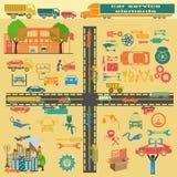 Комплект элементов обслуживания ремонта автомобилей для создавать ваше собственное infogr Стоковые Фотографии RF