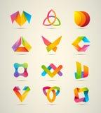 комплект 12 элементов логотипа дизайна вектора большой Значки фирменного стиля Стоковое Изображение
