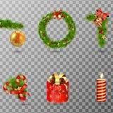 Комплект элементов праздника рождества декоративный изолированный на прозрачной предпосылке иллюстрация Стоковые Фотографии RF