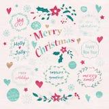 Комплект элементов рождества и Нового Года графических Стоковое Изображение