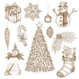 Комплект элементов рождества нарисованный рукой бесплатная иллюстрация