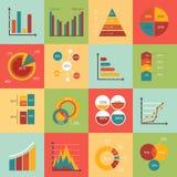 Комплект элементов рынка коммерческих информаций, диаграмм Стоковое Фото