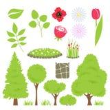 Комплект элементов сада - деревья и цветки Стоковые Изображения