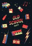 Комплект элементов старой школы иллюстрация с синтезаторами, магнитофон ретро и диско, телефон Стоковое Фото