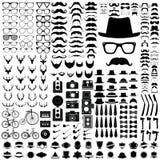 Комплект элементов стиля битника винтажных на белых предпосылке и ic Стоковые Фотографии RF