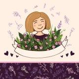 Комплект элементов с белокурой женщиной с цветками и безшовным patt Стоковое Изображение RF