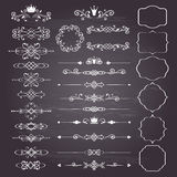 Комплект элементов флористического дизайна огромный, орнаментальные винтажные рамки с кронами в белизне Стоковое Фото