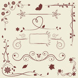 Комплект элементов флористического орнамента Стоковое Изображение RF
