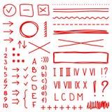 Комплект элементов чертежа руки для редактирует и выбирает текст Стоковое Изображение RF