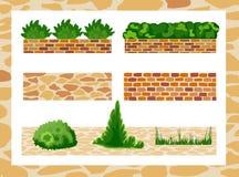 Комплект элементов для дизайна ландшафта Бесплатная Иллюстрация