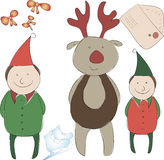 Комплект элементов для оформления Нового Года или рождества Стоковое Изображение