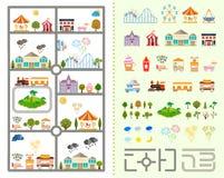 Комплект элементов для создавать ваш собственный город Стоковое Изображение