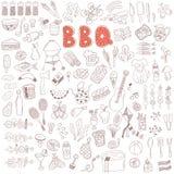 Комплект элементов doodle партии барбекю Стоковое фото RF