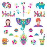 Комплект элементов Holi плоских в индийском стиле бесплатная иллюстрация
