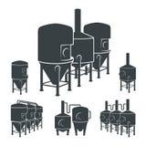 Комплект - элементы винзавода пива, значки, логотипы вектор Стоковое Изображение RF