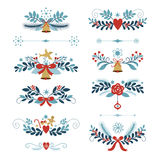 Комплект элементы графика рождества и Нового Года Стоковые Фотографии RF
