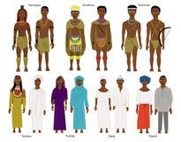 Комплект южных и западно-африканских племен и людей Стоковое Фото