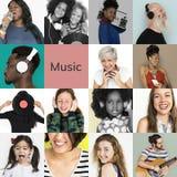 Комплект людей портрета студии музыки людей разнообразия слушая стоковое изображение rf