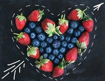 Комплект ягоды приветствию дня валентинки Святого Свежие straberries сада Стоковая Фотография RF