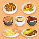 комплект японии еды Стоковые Изображения
